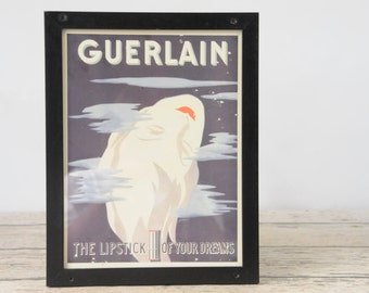 Vintage Framed 1938 GUERLAIN Lipstick Advertising Art Deco