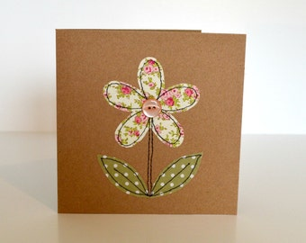 Embroidered flower greetings card, blank greetings card, birthday card, stitched fabric flower, applique flower, fabric flower card