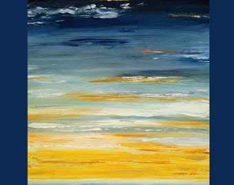 Art,Painting,Abstract,Canvas Art,Seascape,Ocean Art,Acrylic Abstract Art on Canvas by Ora Birenbaum Titled: Light Source 30x40x1.5""