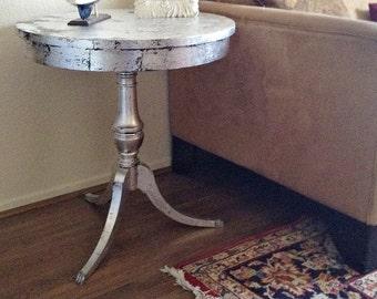 Antiqued Silver Leaf Round Pedestal Hollywood Regency End Table, Nightstand