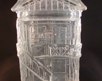 Vintage Clear Glass House Canister Storage Jar with lid 9 x 5 x 4