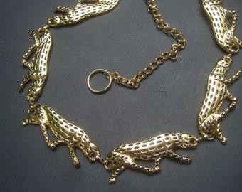 Sleek Gilt Metal Leopard Design Belt