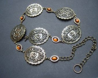 Ormate Burnished Brass Metal Amber Cabochon Hinged Medallion Belt