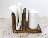 Wood Salt and Pepper Caddy, Wood Napkin Holder, Wooden Table Decor, Choose the Stain