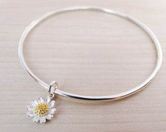 Silver Daisy Bangle - Sterling Silver