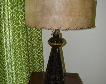 Mid Century Modern 1950s Atomic Lamp w/ Shade Black & Gold