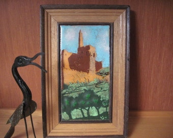 Vintage Signed Enamel on Copper Framed Artwork