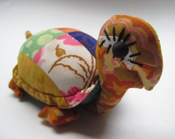 Vintage Patchwork Fabric Turtle Toy  Pin Cushion