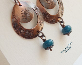 Teal Drop Earrings, Indonesian Glass Beads on Stamped Copper Earrings, Dandelion Design, Artisan Copper Jewelry,