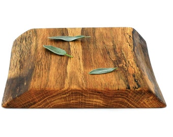 "Thick Natural Edge Cheese Board - Oak - Ready to Ship - 9-1/2""x9""x1-1/4"""