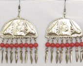 Egyptian Revival Large Lightweight Silver Tone Earrings with 8 Dangles & 8 Red Beads Each.