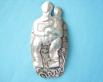 Large Sterling Silver Artisan Brooch of Mother & Child on Celestial Background.  Great Depth in 2-Layer Mixed Style Contoured Rendering.