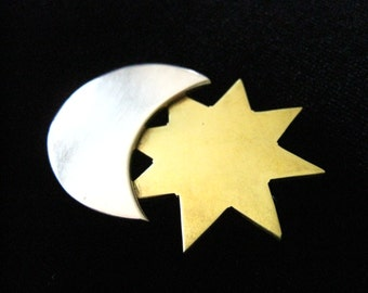 SALE LATON Sterling Silver & Brass Vintage Brooch Shows Moon Overlapping Star.  Made in Mexico.  925