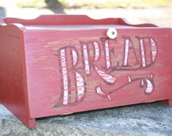 "Red Wooden Vintage ""Bread""  Breadbox"
