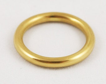 3mm 14k / 18k / 22k / 24k Solid Gold Ring -- Full Round Wedding Band - Yellow, Rose, or White