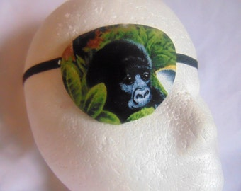 Man's eye patch with Gorilla theme/ expertly handmade/ vision accessory/ eye care/ cataract aid/ health & body/ocular aid/one size fits all