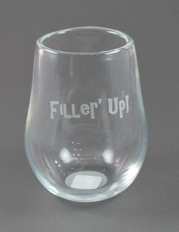 Filler up hand blown sandblasted stemless wine glass - Hand blown stemless wine glasses ...