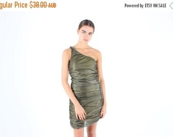 10,000 LIKES 7 Day Sale 90s / Millennium Glitter Metallic GOLD HOLOGRAPHIC One Shoulder Ruched Bandage / Bodycon Mini Dress