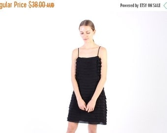 10,000 LIKES 7 Day Sale 90s Black Tiered Ruffle Minimal Spaghetti Strap Cami Nighty Silk Like Slip Dress