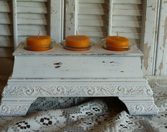 Chippy White, Shabby and Cottage Chic Tea Candle Holder, Table Center Piece, Wedding Decor, Apartment Decor Candle Holder