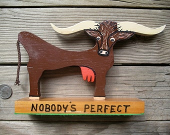 Old Texas Longhorn Cow Wood Cut Out - Nobody's Perfect - Naive Art Udder Weirdness