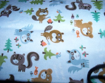 Forest Friends,Animals Flannel Fabric,1 Yard,Racoons,Trees,Bear,Fish ,Skunks