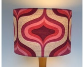 Original 70s Pink  Psychedelic fabric Lampshade Ceiling Pendant Lightshade