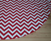 SALE Red Chevron Christmas Tree Skirt - Red and White, Zig Zag, Circle Skirt, Free Shipping