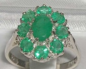 14K White Gold Natural Emerald Wedding Ring Anniversary Ring English Antique Style Cluster Flower Ring  Customize14K18K
