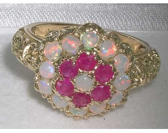 Large 9K Yellow Gold Natural  Colourful Opal & Ruby Engagement Ring, Cluster Flower Ring, English Victorian Style Floral Ring