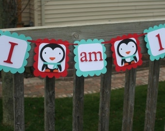 Penguin I am 1 Banner, Winter Onederland Banner, Penguin Birthday, I am One Banner, Penguin Highchair Banner, Winter Onederland 1st Birthday
