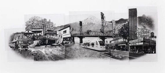 Portland Fine Art - Original Art - Photographic Etching - Print - Photography - Oregon - Photogravure - Photo Collage - Cityscape - Mt Hood