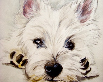 West Highland White Terrier Print, Westie Print, Westie Painting, Westie Art, Westie Watercolor, Westie Home Decor, Westie Gifts