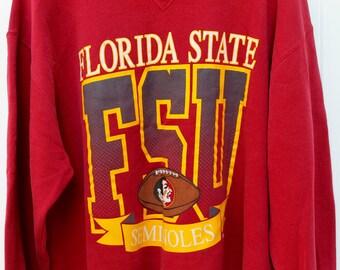 Florida State University Sweat Shirt Pullover Hoodie Retro SFU Menswear Vintage Red Yellow American College Sports Jersey Seminoles Shirts