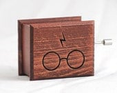 Harry Potter glasses and scars lightning music box mahogany - soundtrack and design inspired handmade wooden music box