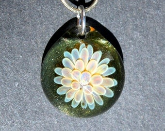 Glass Implosion Pendant Sparkling Green, Flamework Lampwork Boro Necklace, Handmade Jewelry