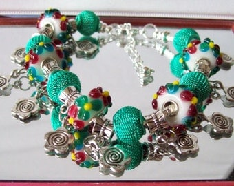 Teal Green and Plum Flower Charm Euro-Style Bracelet