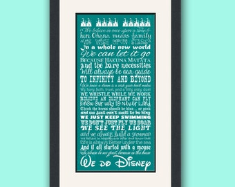 Disney Family Rules 10 by 20 Typography