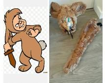 Upcycled Peter Pan Costume, Lost Boys Kangaroo (Fun Fur Hood, Brown Shirt,  Belt and Tail) Youth, Adult