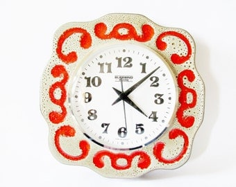 German Vintage Fat Lava Iconic Retro Blessing Quarz Wall Clock from the 70s made in Germany Ceramic Material