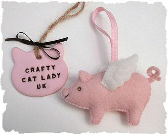 Pig with Wings felt ornament. Flying Pig. Handmade felt pig ornament. Baby Pink