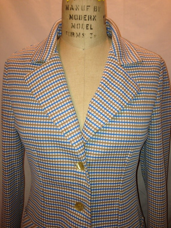 Vintage 70s Plaid Blazer By That Girl c1