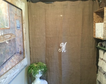 NEW !!!! Burlap shower curtain with monogram