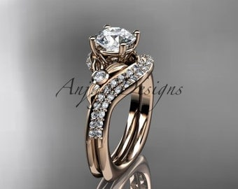 14kt  rose gold diamond leaf and vine wedding ring,engagement ring Set ADLR112S