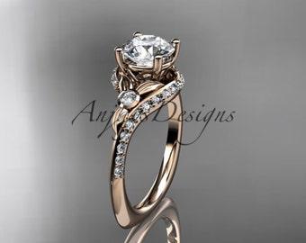 14kt  rose gold diamond leaf and vine wedding ring,engagement ring ADLR112