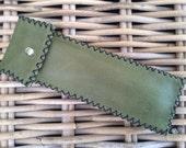Handstitched forest green soft leather cowhide pen holder pen case made in UK