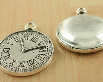 "10 -25mm ""Clock"" back  Antique Silver Alloy Pendant Charm Trays, Optional Glass Domes (10),  Sticky Adhesive Seals (10 or 20)."