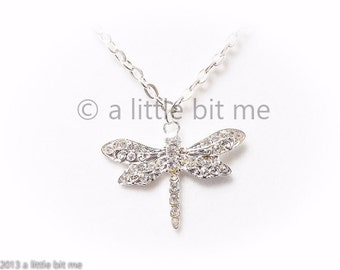 Large Dragonfly Silver & Rhinestone Necklace