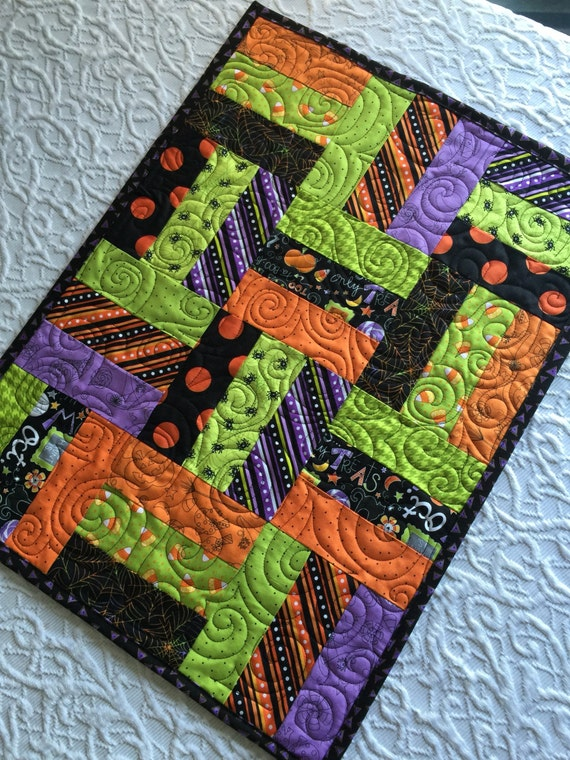 Halloween Patchwork Table Runner Quilt Orange Black Lime
