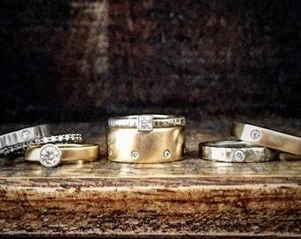 Custom Modern Gold Band, Choose your design, custom wedding rings